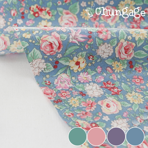 Waterproof Fabric Non-toxic TPU Laminate) Country of Flowers (4 kinds)