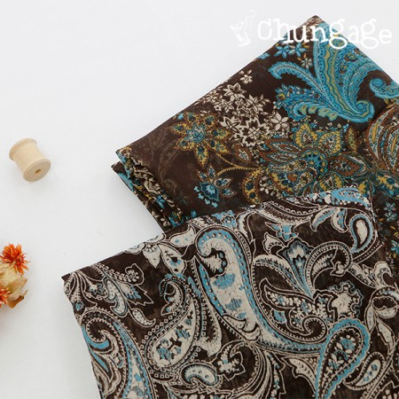 Large-yoru chiffon) Brown Paisley (2 kinds)