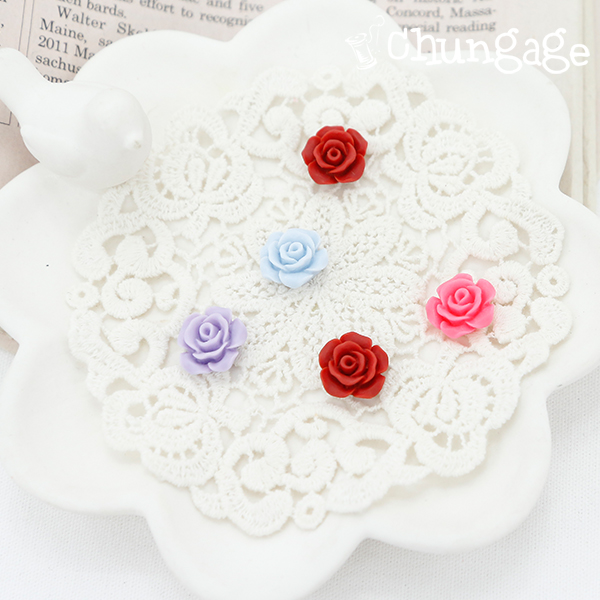 Decorative button Mini rose Plastic button attached with glue gun (2 pieces / 4 kinds)