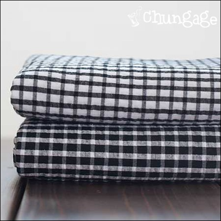 Cotton Seersucker) Black & White Check (2 kinds)