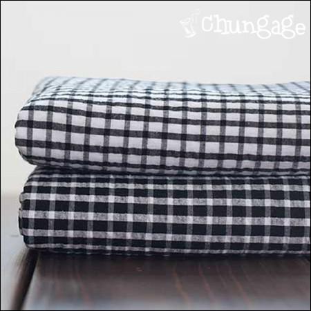 Cotton Seersucker) Black & White Check (2 kinds)