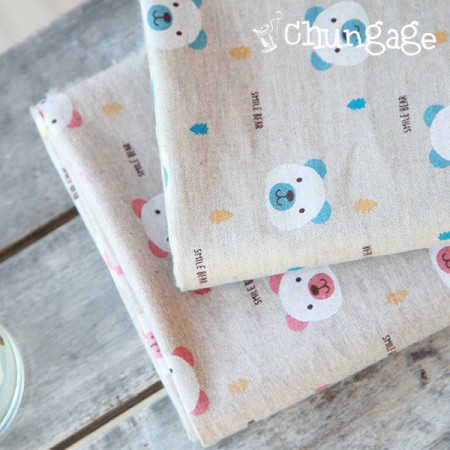 Large-linen cotton) Smile Bear (2color)