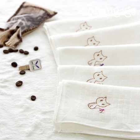 Untranslated handkerchief) Upper embroidered embroidery (5 sheets 1set)