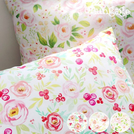 Finest DTP20 woven fabric) Watercolor flower (3 kinds)