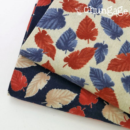 Large-width brushed cotton) Artvig leaf (2 kinds)