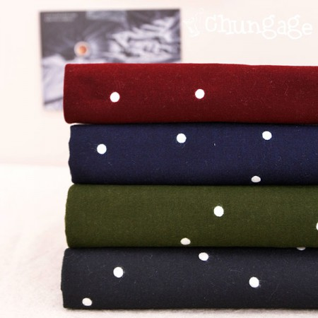 Large-sized brushed fabric) Lovely dots (4 kinds)