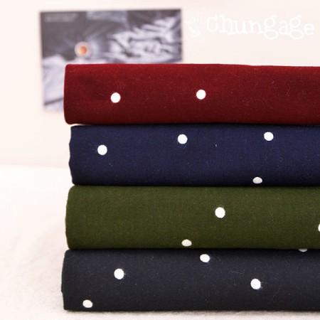 Large-sized brushed fabric) Lovely dots (4 kinds)