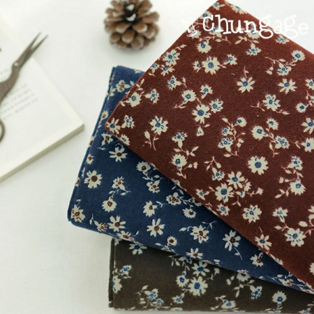 Large-width brushed fabric) autumn wildflowers (three species)