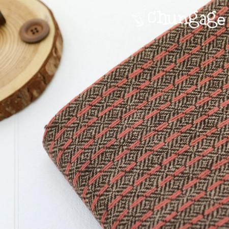 Large-wool blend fabric) Coral herringbone