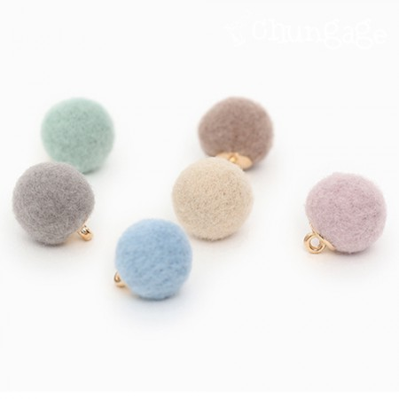 Fabric Button Charm Wool Pastel Ball Button 12mm