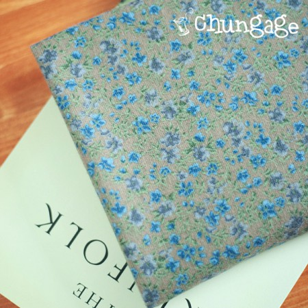 Wide-brushed cotton) Cozy flower (khaki)