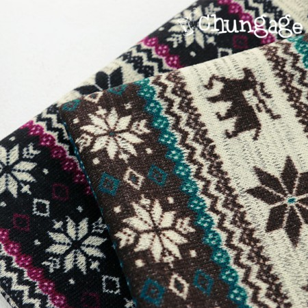Large-brushed knit fabric) Snow Rudolph (2 species)