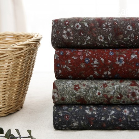 Large-width brushed fabric) Burgundy flower (4 kinds)