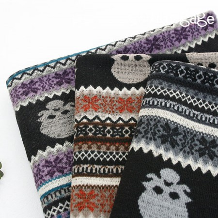 Large-brushed knit fabric) Skull Black (3 species)