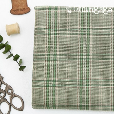 Large-wool blend fabric) Spring Green Check