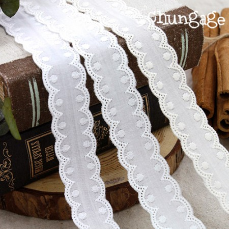 Cotton Lace Cotton 078 Dot Tape Both Sides Lace (3 types)