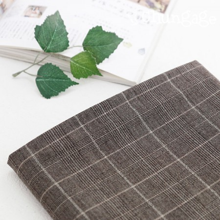 Large-wool span fabric) Cool Brown Check