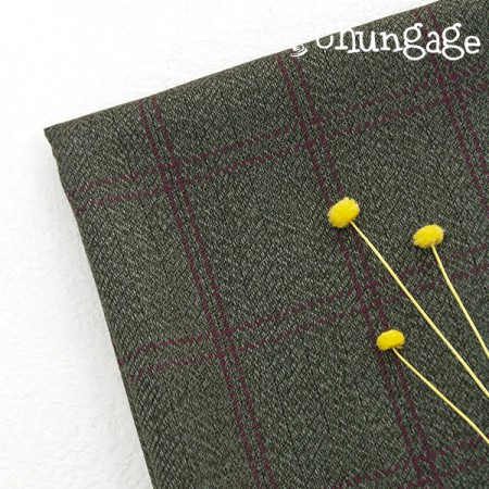 Large-wool silk fabric) Purple Green check
