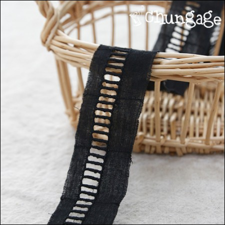 Cotton lace cotton 046 connection tape small Black