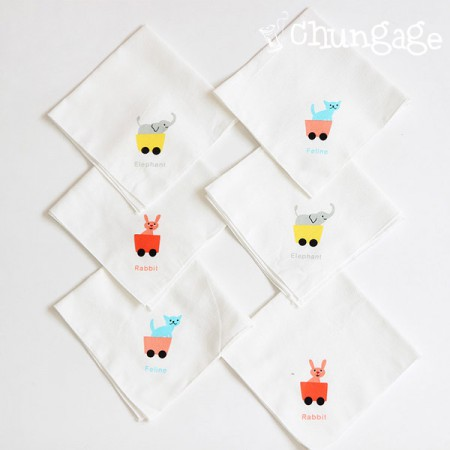 Finished product) Embossed handkerchief Animal (6 sets 1set)