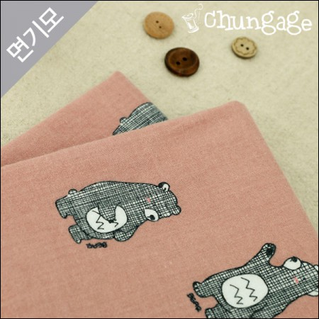 Cotton brushed microfiber fabric) Chess Bear