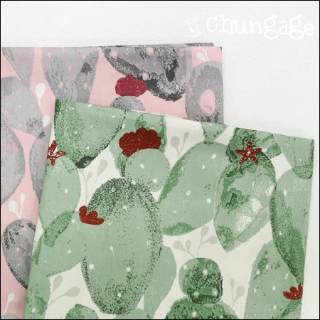 Large -40 sleeping fabric) Vintage cactus (two species)