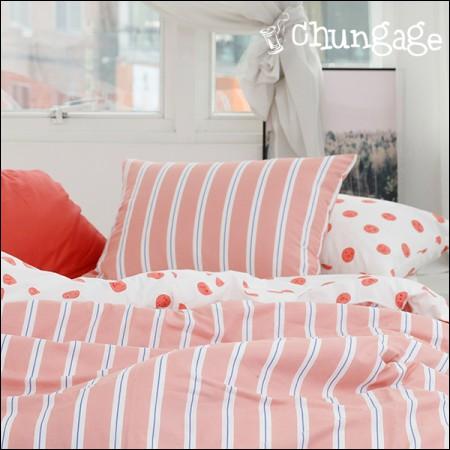 Large-cotton fabrics 20 horizontal straight) Love line (Peach) [245-2]