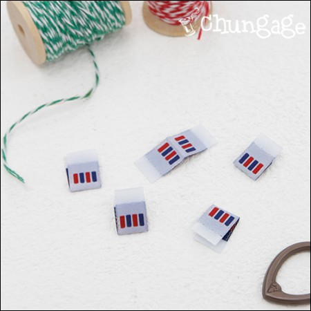 Cotton Label Fitting Label Blue Red Point (5 pieces) [KL016]