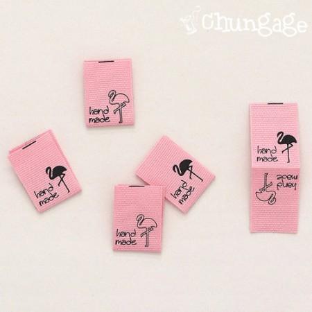 Cotton Label Fit Label Mini Flamingo Handmade Fit Label [LB021]