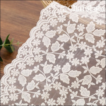 Shawl Fabric Lace Embroidery Fabric Mesh Lace Sweetheart Natural