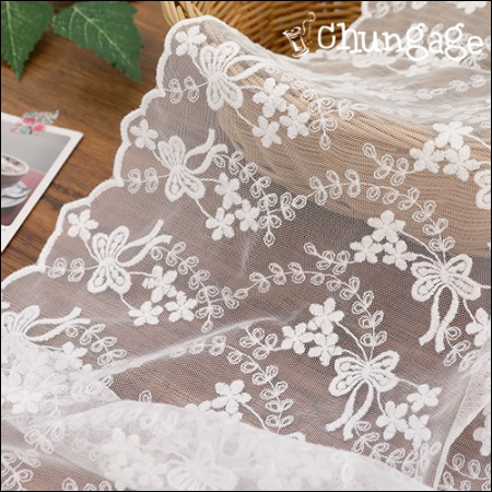 Mesh Fabric Lace Embroidery Fabric Mesh Lace Waltz Ribbon (2 kinds)