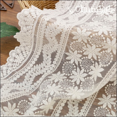 Sha-tail lace embroidery fabric mesh lace sea garden (two species)
