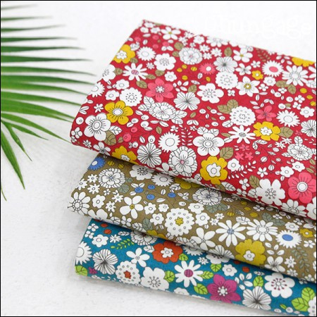Cotton 20 horizontal fabric) floral white