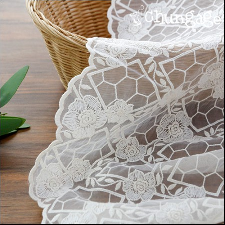 SHAWON LACE Lace Embroidery Fabric Mesh Lace Athens Rose (2 types)