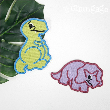 Adhesive Waffle Dinosaur Embroidery Patch Waffles (2 Types) [092]