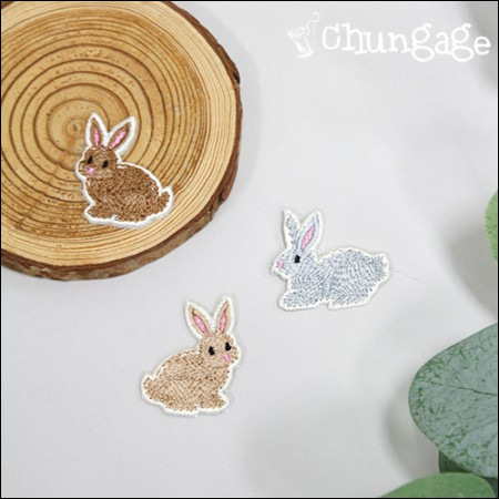 Adhesive Wand Classic Rabbit Embroidery Patch Waffle (3 Types) [088]