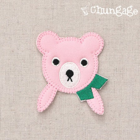 Plush and Fan Green Scarf Pink Bear Warpen
