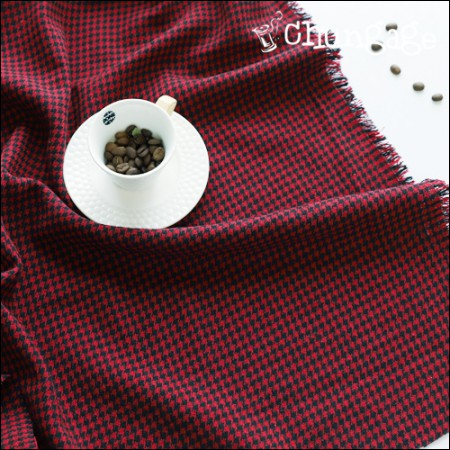 Wide-wool blend wool) Houndstooth check red