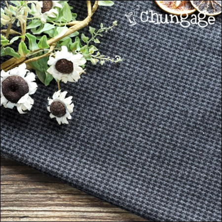 Wide-wool blend wool) Houndstooth check black