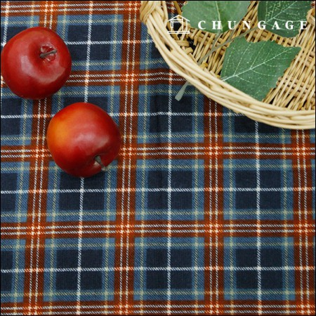 Wide brushed cotton) Maple check [A-611]