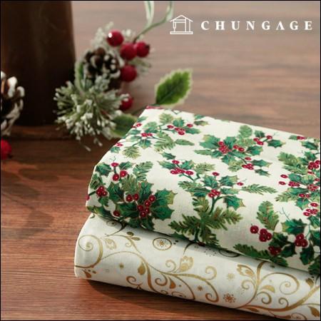 Wide-20 horizontally-woven fabrics) Holly Christmas (2 types)
