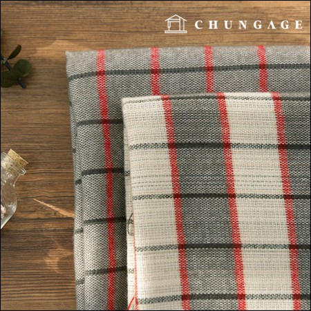 Acrylic Fabric) Red Gray Check (2 Types)