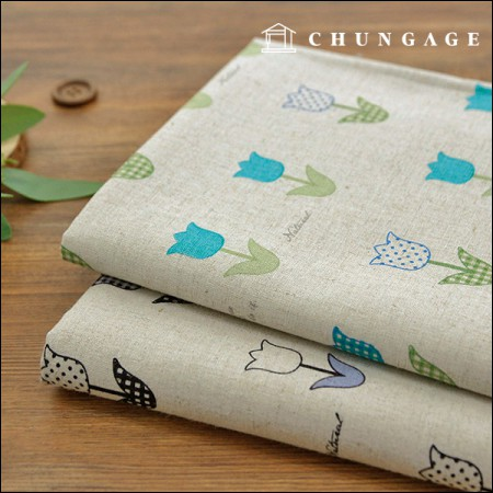 Two kinds of linen 11 water print cloth natural tulip