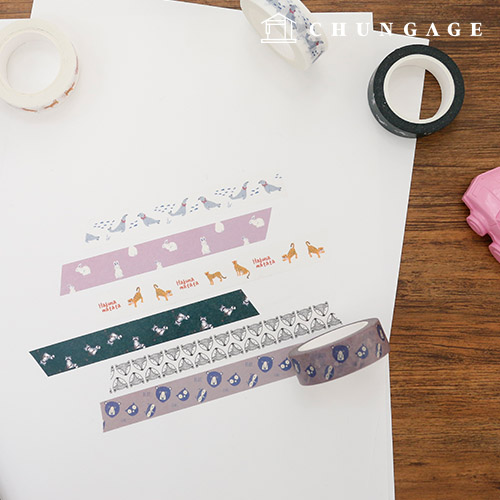Design Paper Masking Tape Animal Collection (6 types)