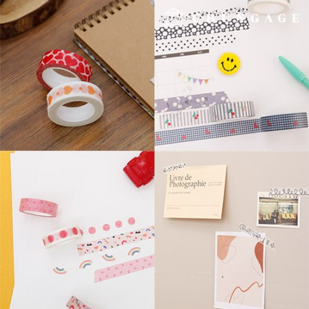 Design Paper Masking Tape Cute Pattern Collection (15 types)