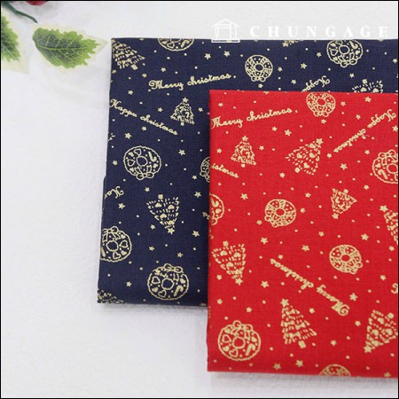 20 Cotton Fabric Golden Christmas 2 Types