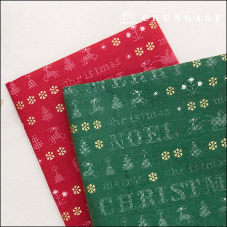20 cotton fabric 2 kinds of Noel Christmas