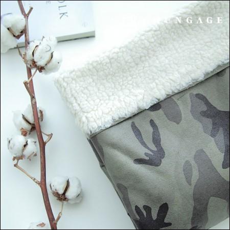 Suede Mustang Wool bonding fabric military Khaki