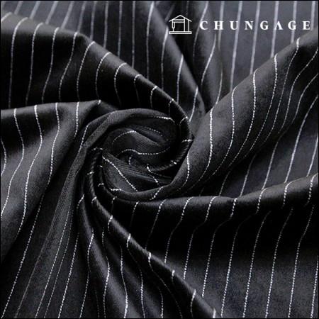 Span Cotton Velvet Black Pinstripe