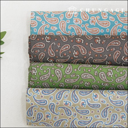 20 Cotton Fabric Cool Paisley 4 Types